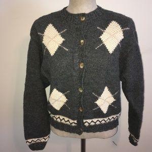 Liz Claiborne Gray & Off-White Wool & Silk Sweater